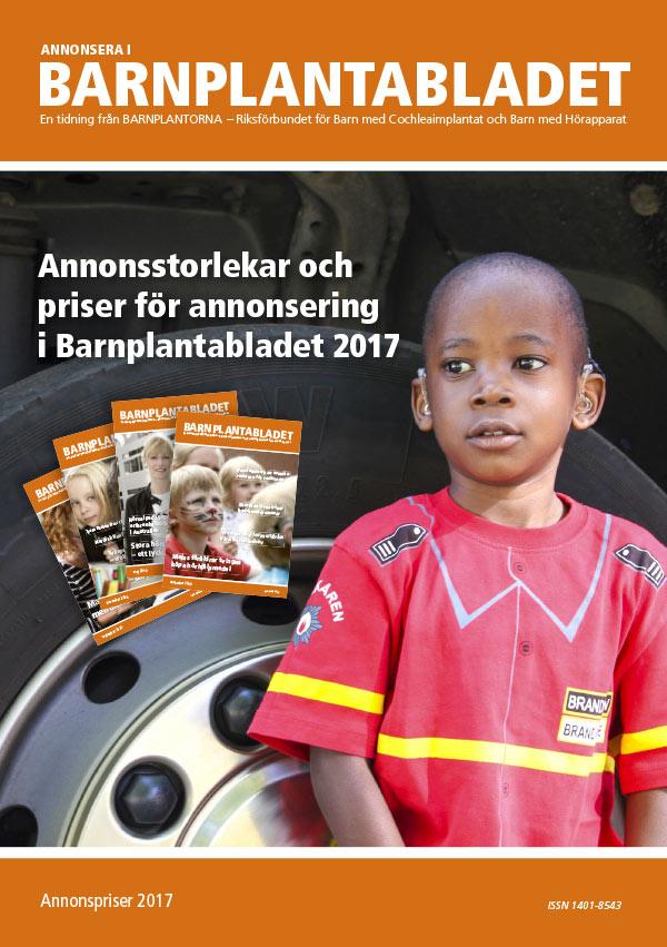 Annonsstorlekar och priser för annonsering i Barnplantabladet 2017.