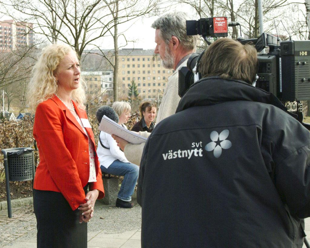 Barnplantornas ordförande intervjuas av Västnytt 2003.